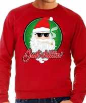Foute kersttrui just chillin rood heren shirt