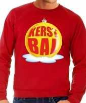 Foute kersttrui kerstbal geel rode sweater heren shirt