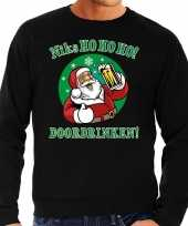 Foute kersttrui niks ho ho ho doordrinken bier zwart heren shirt