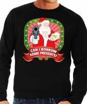 Foute kersttrui zwart can i borrow some presents heren shirt
