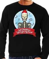 Foute kersttrui zwart last christmas i gave you my heart heren shirt
