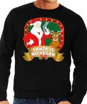 Foute kersttrui zwart santa is no vegan heren shirt