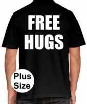 Free hugs grote maten poloshirt zwart heren