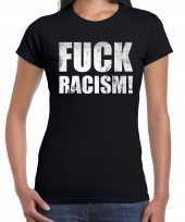 Fuck racism protest t-shirt zwart heren