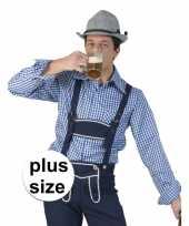 Grote maat blauw wit geruit tiroler verkleed overhemd heren shirt