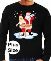 Grote maten foute kersttrui best christmas party zwart heren shirt