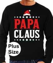 Grote maten foute kersttrui papa claus zwart heren shirt