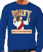 Grote maten foute kersttrui party jezus blauw heren shirt