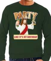 Grote maten foute kersttrui party jezus groen heren shirt