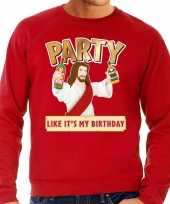 Grote maten foute kersttrui party jezus rood heren shirt
