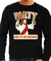 Grote maten foute kersttrui party jezus zwart heren shirt