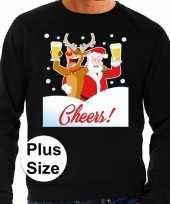 Grote maten foute kersttrui proostende kerstman zwart heren shirt