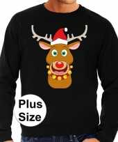 Grote maten foute kersttrui rudolf rendier zwart heren shirt