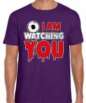 Halloween i am watching you verkleed t-shirt paars heren