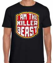 Halloween killer beast verkleed t-shirt zwart heren