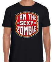 Halloween sexy zombie verkleed t-shirt zwart heren