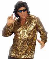 Heren disco fever shirt goud