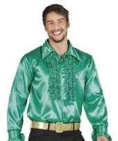 Heren groene rouche blouse shirt