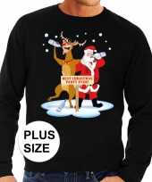Heren grote maten foute kersttrui dronken kerstman rendier zwart-shirt
