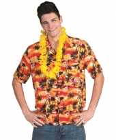 Heren hawaii shirt rood oranje