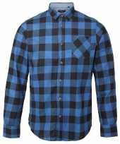 Heren houthakkers overhemd blauw zwart-shirt