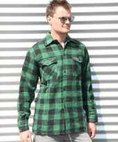 Heren houthakkers overhemd groen zwart-shirt