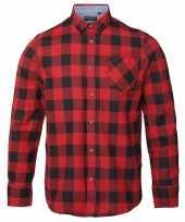 Heren houthakkers overhemd rood zwart-shirt