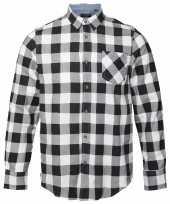 Heren houthakkers overhemd wit zwart-shirt
