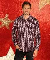 Heren kerst overhemd kerstmannen shirt