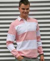 Heren rugbyshirt roze gestreept