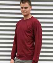 Heren t-shirt lange mouw bordeaux