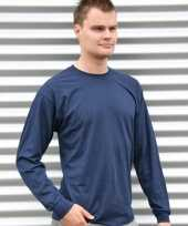 Heren t-shirt lange mouw navy