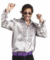 Heren zilveren rouche blouse shirt