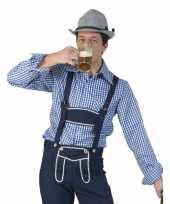 Oktoberfest blauw wit geruit tiroler verkleed overhemd heren shirt