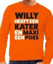 Oranje koningsdag maxi heeft een poes sweater heren shirt