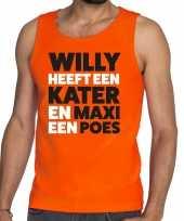 Oranje koningsdag maxi heeft een poes tanktop heren shirt