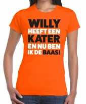 Oranje koningsdag willy heeft een kater t-shirt heren 10141892