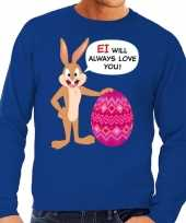 Paas sweater ei will always love you blauw heren shirt