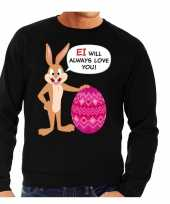 Paas sweater ei will always love you zwart heren shirt