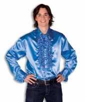 Rouche overhemd heren blauw shirt