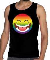 Smiley emoji regenboog gay pride tanktop zwart heren shirt