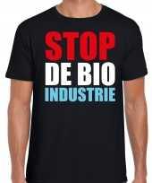 Stop bio industrie demonstratie protest t-shirt zwart heren