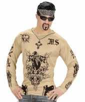 Tattoo verkleed shirt gangster heren