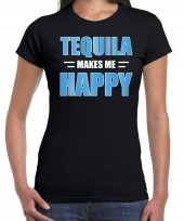 Tequila makes me happy drank t shirt kleding zwart heren
