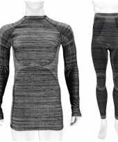 Thermo kleding set-shirt broek zwart melange heren maat xl