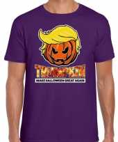 Trumpkin make halloween great again t-shirt paars heren