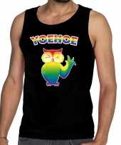 Yoehoe gay pride tanktop knipogende uil zwart heren shirt