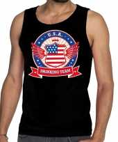 Zwart usa drinking team tanktop mouwloos shirt heren